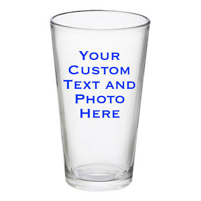 Custom Pint Glass for Beer 16 oz Personalized ANY TEXT Printed in Full Color