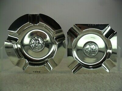 Pair of Motorcycling Club Solid Silver Prize Trophy Medal Ashtrays, B'ham 1921/2