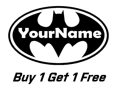 f3e95e1397c7 ~ ~ 2 BATMAN Logo with NAME Logo Vinyl Decal for Wall Sticker CUSTOM Decals  yeti -  0.99