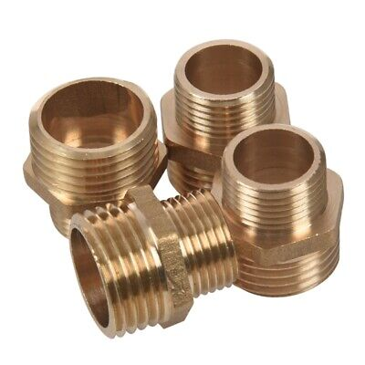 2X(4Pcs 1/2 inch BSP to 3/8 inch SP Male Thread Brass Pipe Hex Nipple Fitting F8