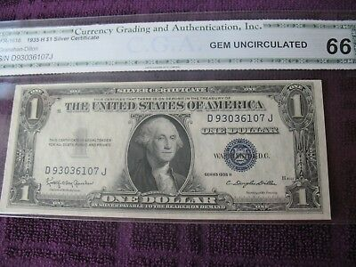 FR-1618 1935 Series H Silver Certificate Graded Gem Uncirculated 66! Low Print!