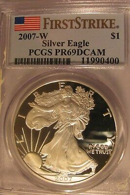 2007 W First Strike Silver Eagle Proof PCGS PR69 DCAM American Flag NO SPOTS
