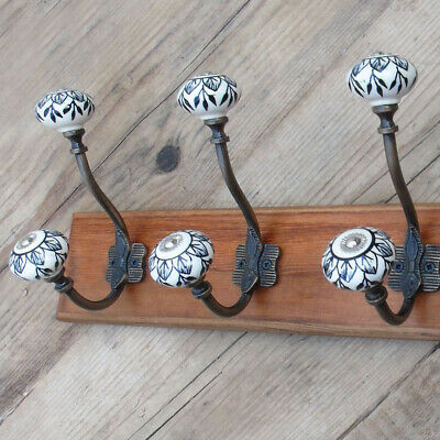 Vintage Rustic Wooden Coat Rack Dark Walnut Wall Mounted Cast Iron Metal Hooks