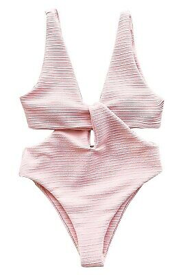 44ab2a7a3baa4 CUPSHE Women's Solid Pink High Waisted One-Piece Swimsuit Shine for U  Swimwear S