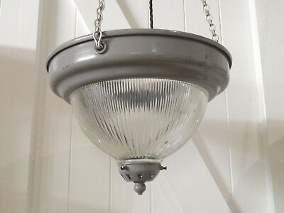 1 x Reclaimed Holophane type glass Industrial ceiling light