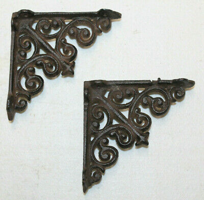 Set/2 Rustic Aged Iron Wall Shelf Support Brackets Brace