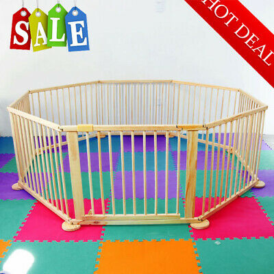 8 Panel Multicolor Baby Children Wooden Foldable Playpen Play Pen Room Divider