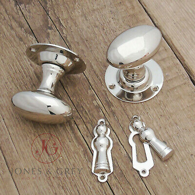 Victorian Polished Nickel Oval Brass Round Door Handles Knobs & Lock Escutcheons