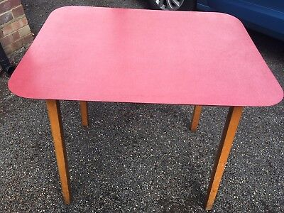Mid century retro 1960s PHG Guildform pink Formica top wooden kitchen table