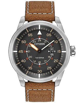 *BRAND NEW* Citizen Men's Eco-Drive Brown Leather Strap Steel Watch AW1361-10H