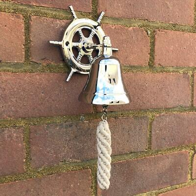 Ship Boat Wheel Bell School Bar Kitchen Hanging Vintage Bell with Rope SS0814