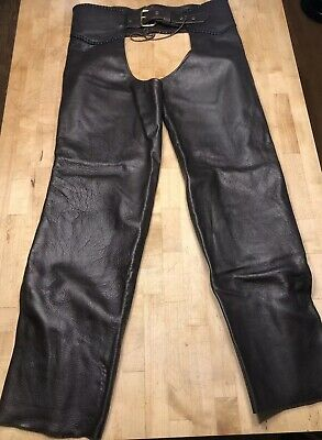 Vintage Brown Leather Riding Chaps. Full Western Motorcycle Handmade In USA
