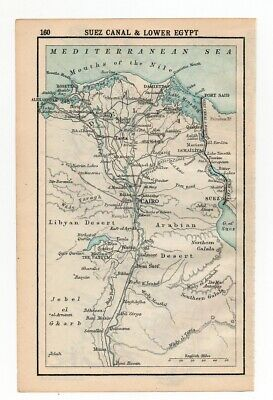 1909 Map Of Suez Canal & Lower Egypt Old Antique