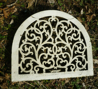 Antique Cast Iron Floor Grate Heat Register Wide Arch Scrolling Vine Design