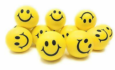 12x Yellow Stress Balls Hand Relief Squeeze Toy Reliever Anti Stress Soft Smiley