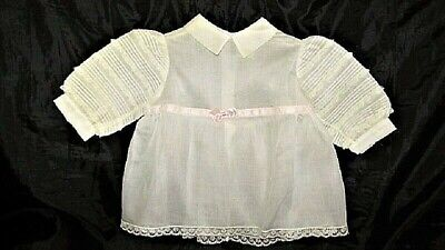 Vtg Madame Alexander Tot Sheer White Pink Cotton W Lace Child Doll Dress S2 Nos