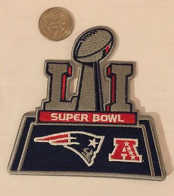 """NEW ENGLAND PATRIOTS SUPER BOWL 51 CHAMPIONS embroidered iron on Patch 4""""x 4"""""""