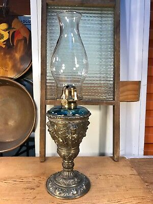 Beautiful Antique English Oil Kero Lamp Blue Glass Polished Cherub Metal Base