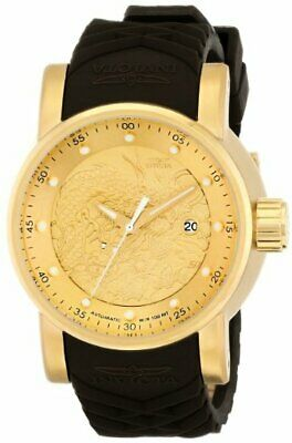 Invicta Mens S1 Rally Yakuza Automatic Goldtone and Brown Rubber Watch