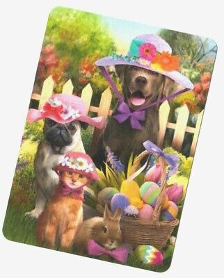 Swap / Playing Card ~ Easter Surprise Dog Cat Bunny ~ Modern Wide ~Linen
