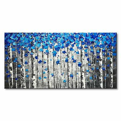 Textured Forest Abstract Canvas Wall Art Hand Painted Modern Blue Tree Oil...