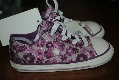15d581ad62c8 CONVERSE ONE STAR Purple Floral girls sneakers shoes. Size 10 ...