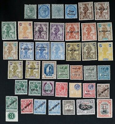 RARE 1885- Malta lot of 41 Postage stamps Mint