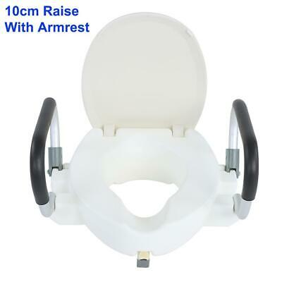 Raised Toilet Seat 10cm With Lid Removable Arms Top Quality Max 150KG