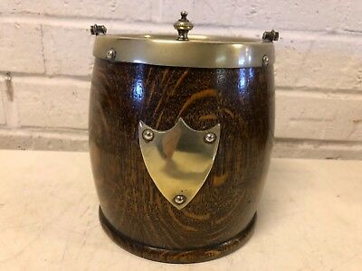 Antique English Biscuit Barrel Oak and Silverplate with Shield Decorations