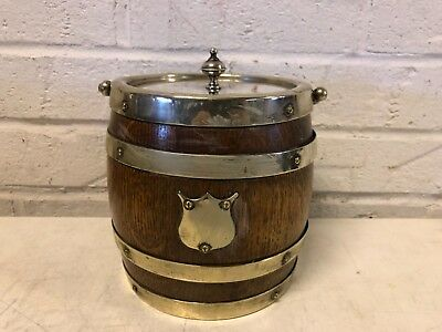 Ant English Biscuit Barrel Oak & Silverplate HC&CS Double Banded w/ Shield Dec.