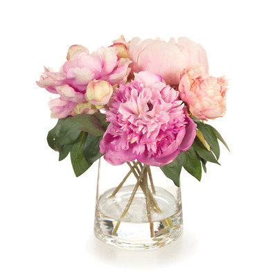 Artificial Flowers Peony Bouquet Mix in Vase (Pink)