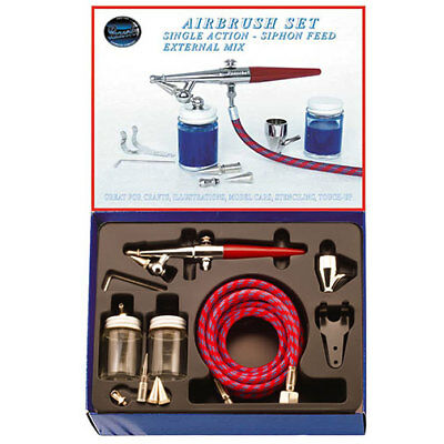 Paasche Airbrush Single Action Siphon Feed Airbrush Set I with Three Spray Heads