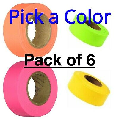 Flagging Tape -6 Pack Irwin, Glo-Orange, Glo-Pink, Glo-Lime, Yellow- Pick Color
