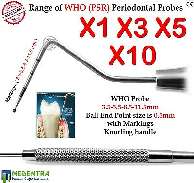 Sets of Periodontal WHO Probe Basic Examination Probes Sonda Periodontales Sonde
