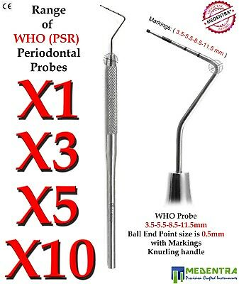 Dentists Pick WHO Periodontal Probe PSR 0.5mm Perio Probes Sondas de Periodoncia
