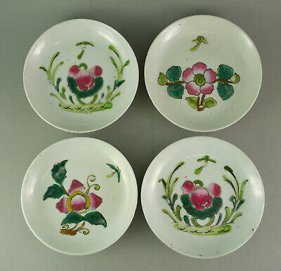 Set of four famille rose seladon plate saucer porcelaine Porzellan China Teller