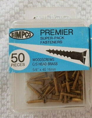 "SALE 50x 5/8"" 4g, Slot head Solid Brass Wood Screws, C/S, NOS slotted"