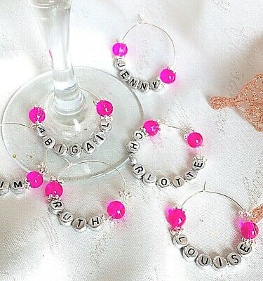1 PERSONALISED WINE CHAMPAGNE GLASS CHARM VALENTINES Wedding birthday hen party