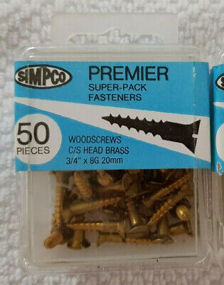 "50x 3/4"" 8g, slot head Solid Brass Wood Screws, C/S, NOS slotted"