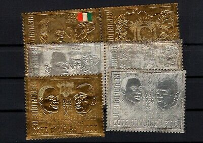 P101685/ Ivory Coast / Gold & Silver Stamps / Sg # 344 / 349 Mnh 194 €