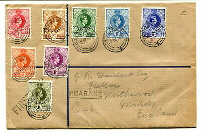 Swaziland 1938 GVI definitive ½d. to 1/- on registered cover Mbabane to UK