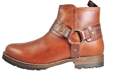 Red Tape Bradley Men's Real Leather Vintage Biker Style Ankle Boots Tan