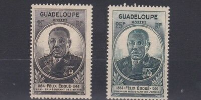 French Colonies Guadeloupe   1945  Sg 181 - 182  Eboue  Set    Mh