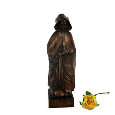 Hand Carved Wooden Statue Figurine Old Lace Lady Bruges Signed Vannet