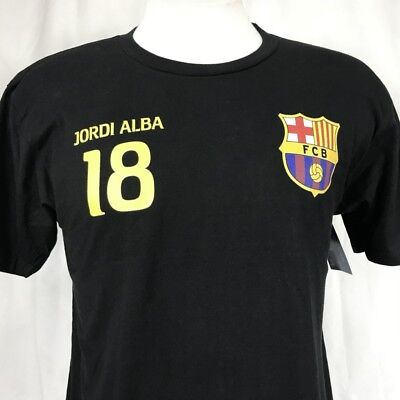 3fda76fae FCB Barcelona Jordi Alba Soccer Mens Medium T-Shirt Black Football Futbol  Barca