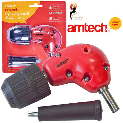 """3/8"""" Right Angle Power Drill Attachment Key less Chuck - 38 Handle Amtech F3045"""