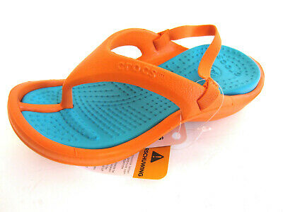 Crocs Athens Childrens Orange/Turquoise Toe-Post Sandals with Strap (41B)