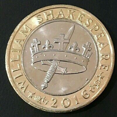 2016 £2 Coin William Shakespeare Hollow Crown Dagger Sword Histories - Excellent