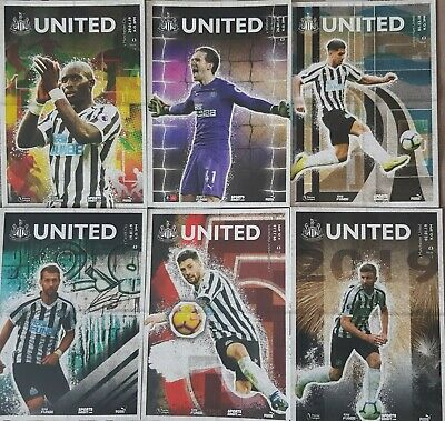 2018/19 Collection Of 6 Newcastle United Homes & Official Colour Team Sheets