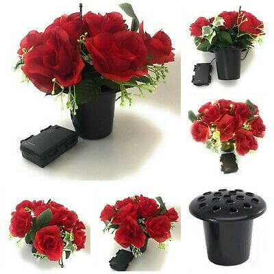Memorial Silk Artificial Rose Light Up Replacement Insert Grave Flower Pot Vase